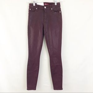 7FAM Skinny Ankle Red Coated Denim Jeans Sz 23 NWT